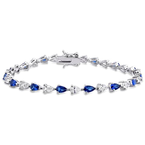 Miadora Sterling Silver Pear-cut Created Blue and White Sapphire Tennis Bracelet