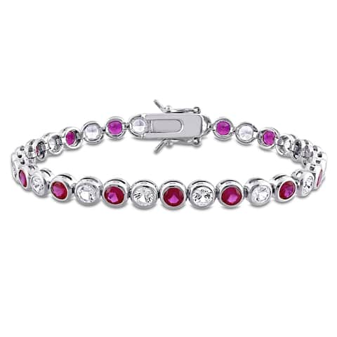 Miadora Sterling Silver Red Cubic Zirconia and Created White Sapphire Tennis Bracelet