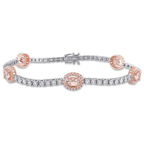 Miadora 14k 2-Tone Gold Morganite and 2ct TDW Diamond Station Halo Tennis Bracelet