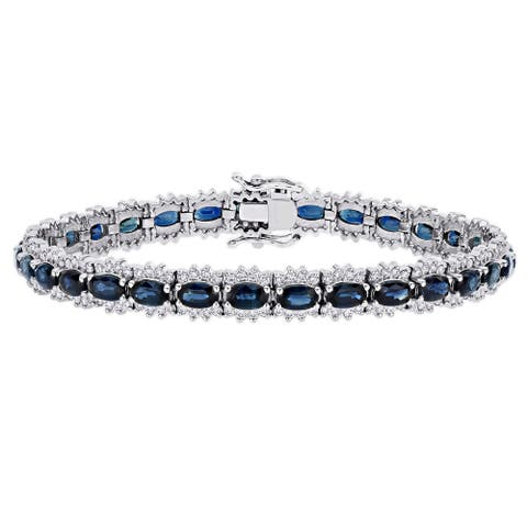 Miadora 14k White Gold Oval Sapphire and 1 3/4ct TDW Diamond Halo Tennis Bracelet