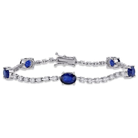 Miadora 18k White Gold Oval Blue Sapphire and 1 1/8ct TDW Diamond Station Tennis Bracelet