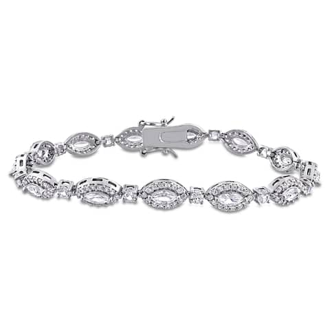 Miadora Sterling Silver Marquise & Round Created White Sapphire Tennis Bracelet