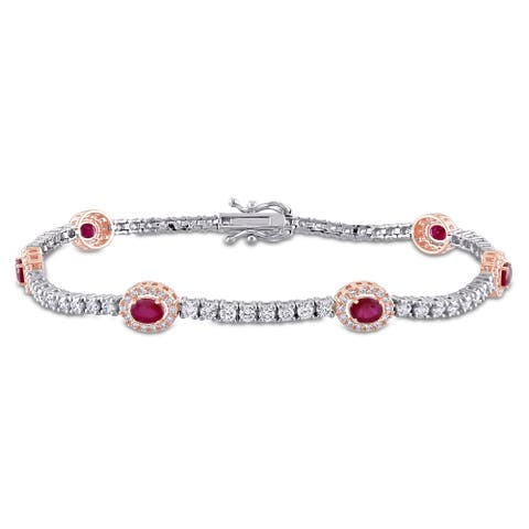 Miadora 14k 2-Tone Gold Ruby and 2 1/10ct TDW Diamond Station Halo Tennis Bracelet