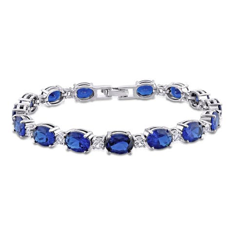 Miadora Sterling Silver Created Blue and White Sapphire Oval Link Tennis Bracelet