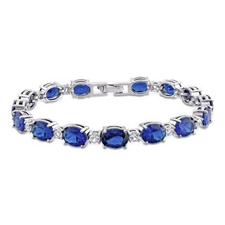 Link to Miadora Sterling Silver Created Blue and White Sapphire Oval Link Tennis Bracelet Similar Items in Bracelets