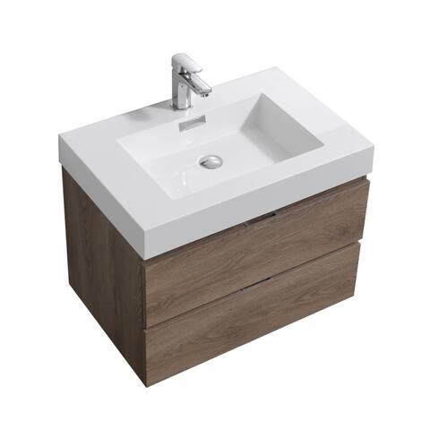 """Bliss 30"""" Butternut Wall Mount Modern Bathroom Vanity"""