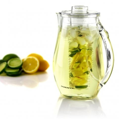 Ovente Infusion Pitcher 2.5 Liter with 2 Removable Rod, Clear PIA0852C