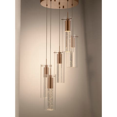 Sprite Matte Gold LED 3000K Crystal and Glass Tube Pendant Light 14 in. Dia x 96 in. H Small - Small Pendant
