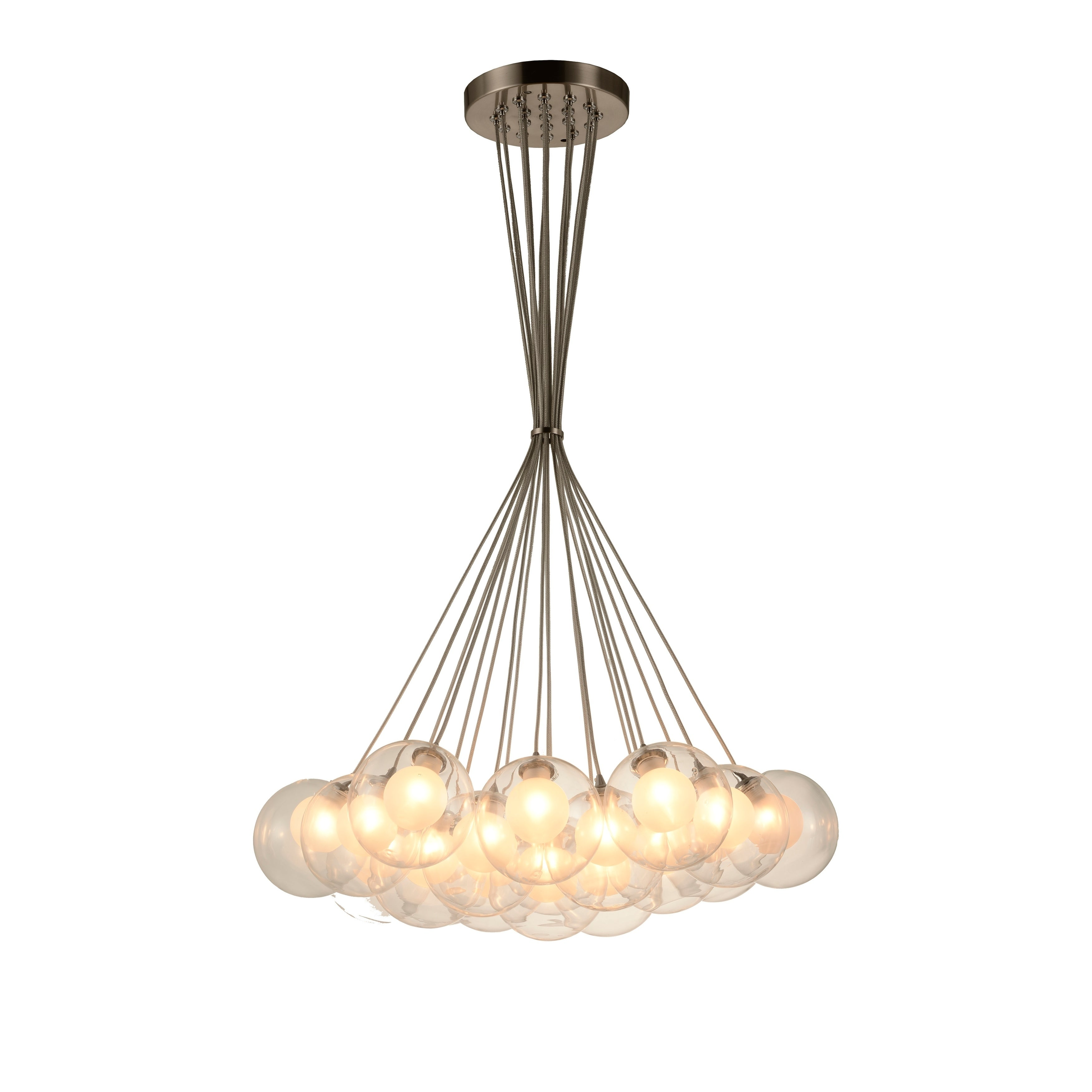 Moulin 19 Light Matte Nickel Halogen Led Clear And Frosted Glass Ball Cluster Pendant Light Large Large Pendant Overstock Com Shopping The Best Deals On Pendant Lights 35285070