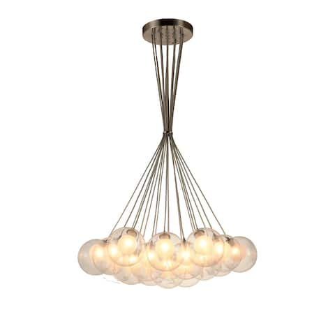 Moulin 19-Light Matte Nickel Halogen / LED Clear and Frosted Glass Ball Cluster Pendant Light Large - Large Pendant