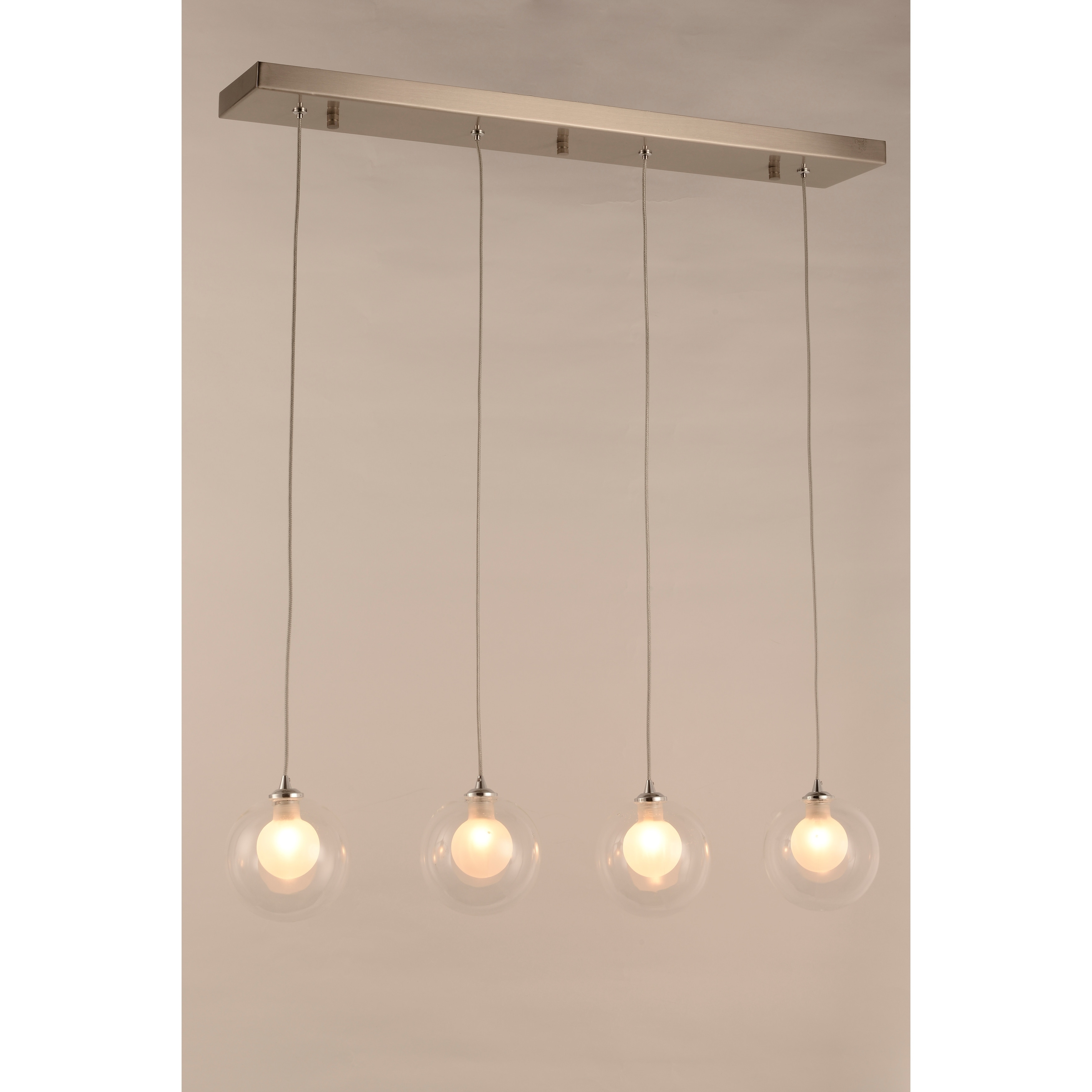 Moulin 4 Light Matte Nickel Halogen Led Clear And Frosted Glass Ball Kitchen Island Linear Pendant Light Large Pendant Overstock 30430030