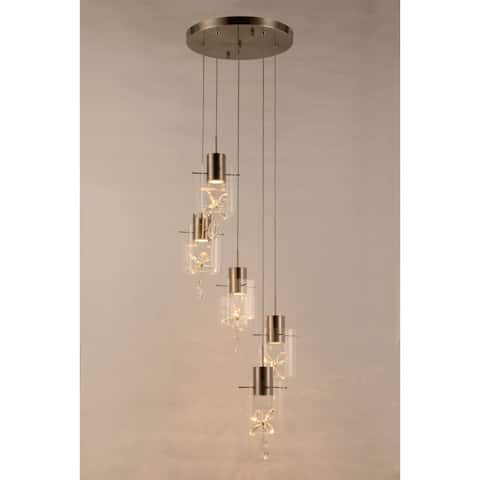 Papillon 30-Watt Matte Nickel LED 3000K Glass with Crystal Cascade Pendant Ceiling Light Medium - Medium Pendant