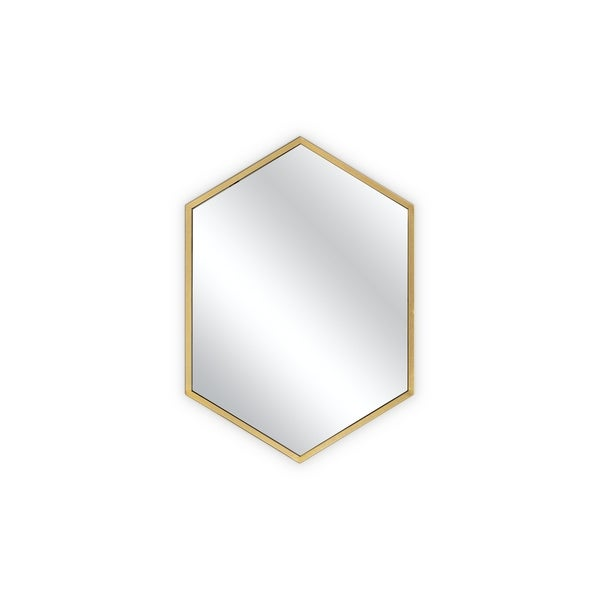 Stylish wall mirror with metal gold frame.