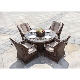 4-seat Round Dining Set with Beige Cushions