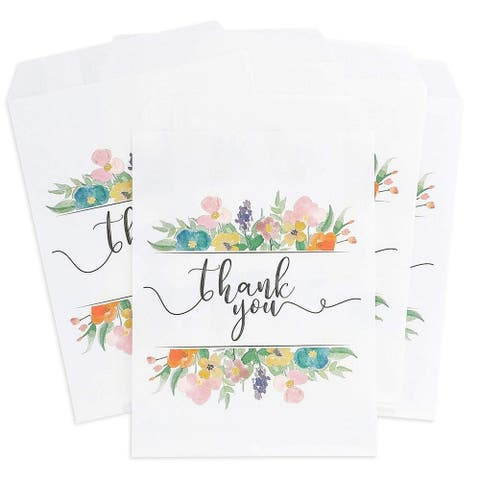 "100 Floral Thank You Paper Party Treat Bags for Cookies, Candy Buffet, 5""x 7.5"""