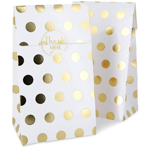 Gold Foil Party Goody Gift Bags and Stickers for Favors, Treats (24 Pack)