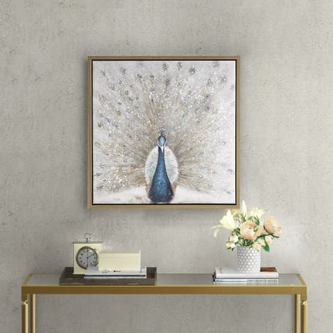 Madison Park Gilded Peacock Multi Framed Canvas with Gold Foil and Hand Embellishment