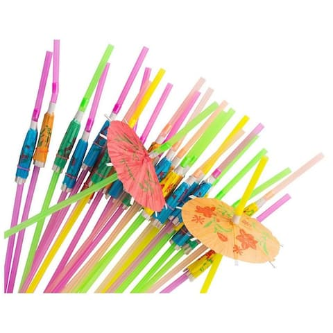 150x Disposable Tropical Hawaiian Luau Party Umbrella Cocktail Drink Straws