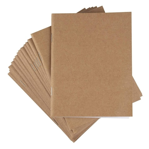 24-Pack Kraft Unlined Blank Notebook, Brown, 4.25 x 5.5 Inches, 24 Sheets Each