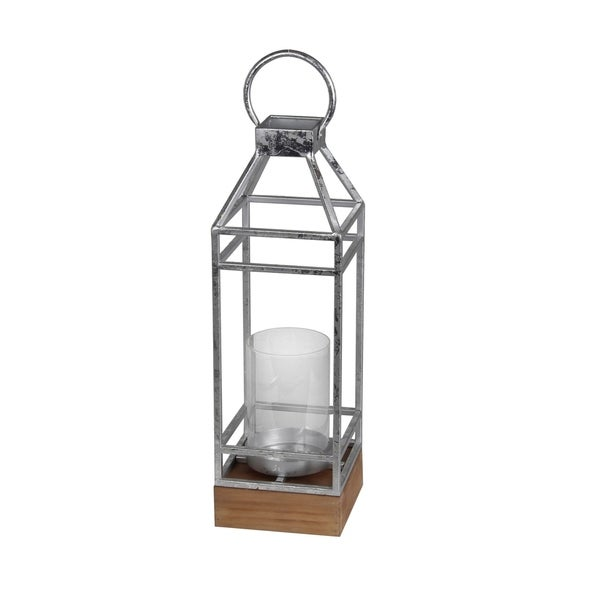 Open Frame Metal Candle Lantern with Glass Hurricane, Small, Silver