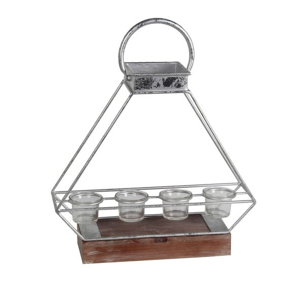 Wooden Base Metal Candle Lantern with 4 Glass Votive, Large, Silver