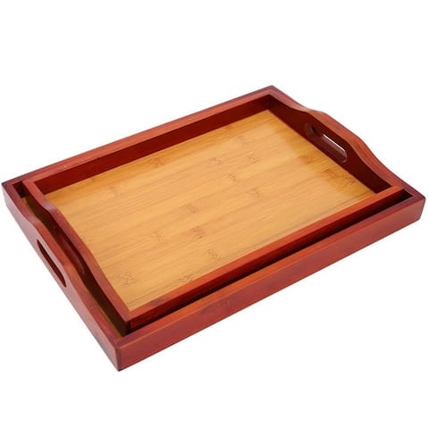 2 Pack Wooden Serving Food Tray with Handle, Easy Carry, Red Brown, 16 x 2 x 12""