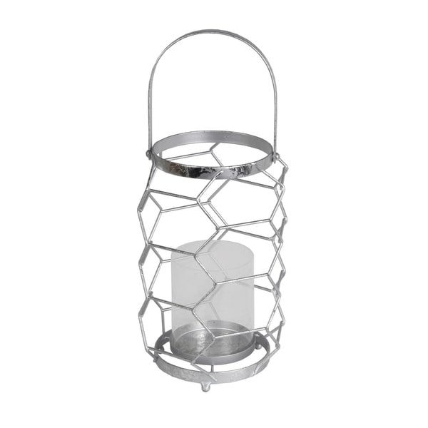 Geometric Metal Wire Candle Holder with Glass Hurricane, Small, Silver