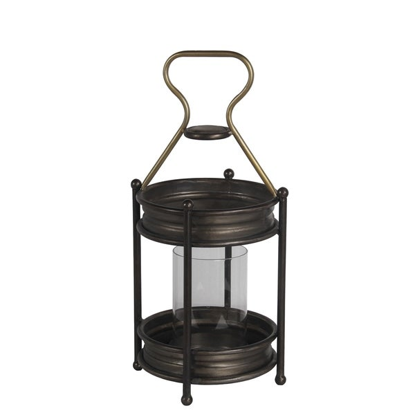 Transitional Metal Candle Holder with Ball Leg, Small, Espresso