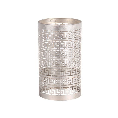 Decorative Metal Candle Holder with Meander Design, Medium, Silver