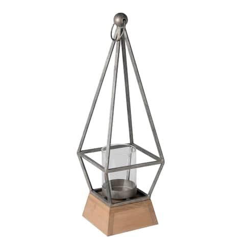 Contemporary Pyramidal Shaped Wood and Metal Lantern, Silver and Brown