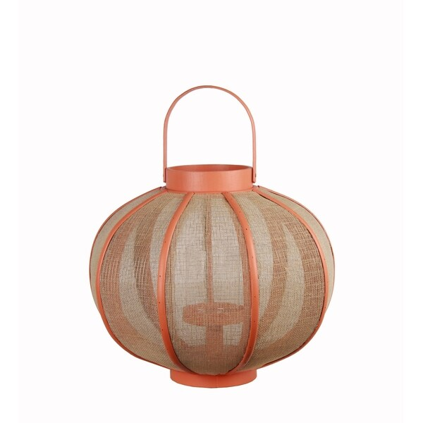 Farmhouse Wood and Metal Lantern with Mesh Details, Orange and Beige