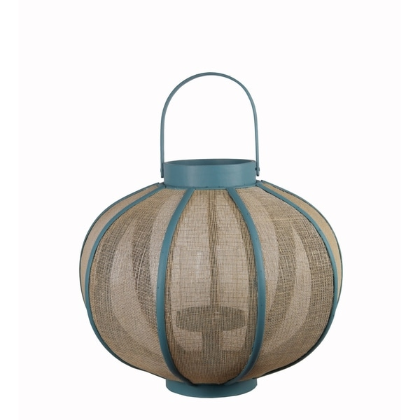 Farmhouse Wood and Metal Lantern with Mesh Details, Blue and Beige