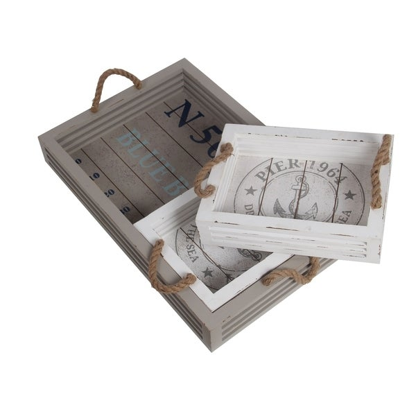 3 Piece Coastal Wooden Tray Set with Nautical Imprint, White and Gray