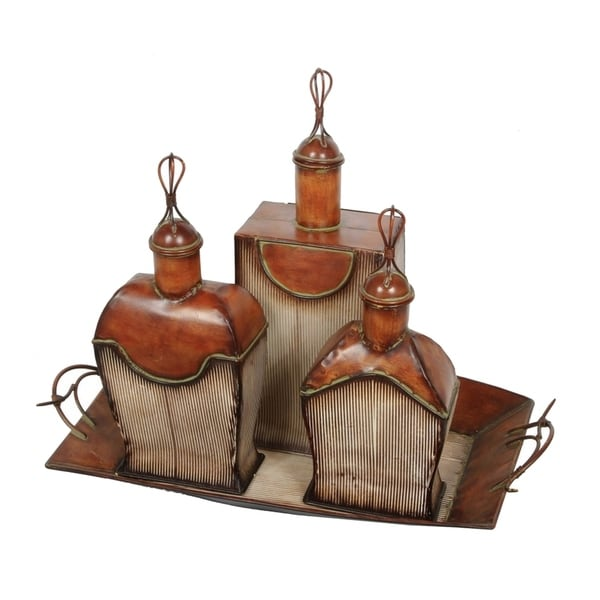 Ceramic 3 Piece Antique Perfume Bottle Set with Tray, Brown