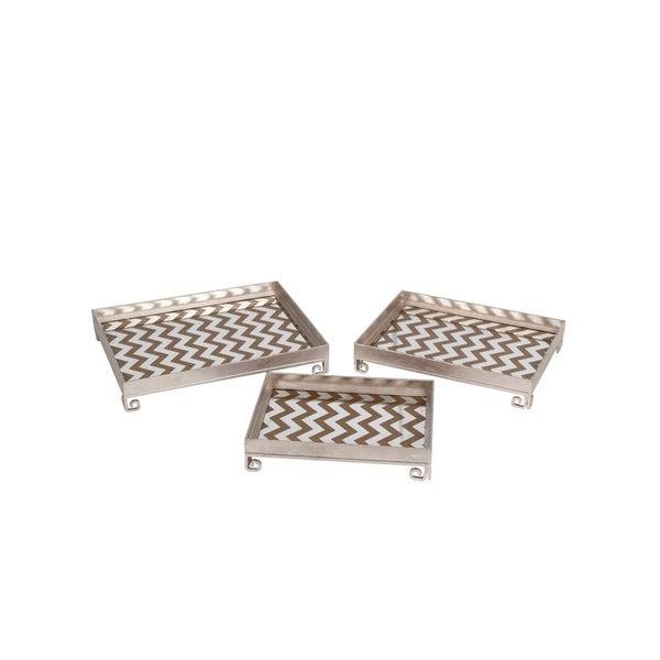 Decorative Iron Tray with Chevron Pattern, Set of 3, Silver
