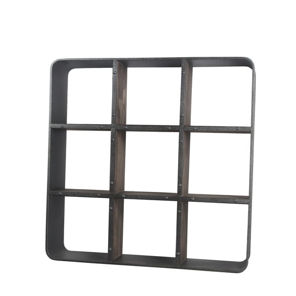 Industrial Design Wood and Metal Wall Organizer with 9 Shelves, Black