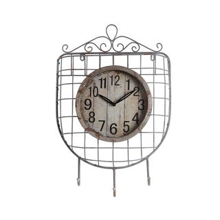 Iron Wall Clock with 3 Hooks and Scrollwork Details, White and Gray