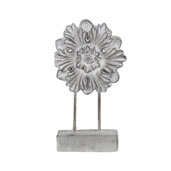 Cement and Metal Floral Sculpture with Block Base, Large, Gray