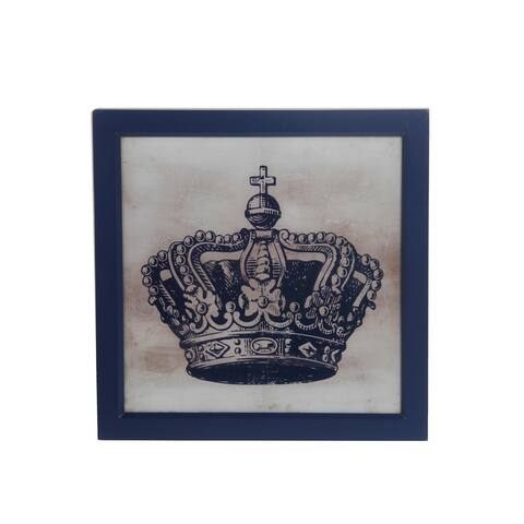 Square Wooden Wall decor with Crown Print, Blue and White - 6 x 12