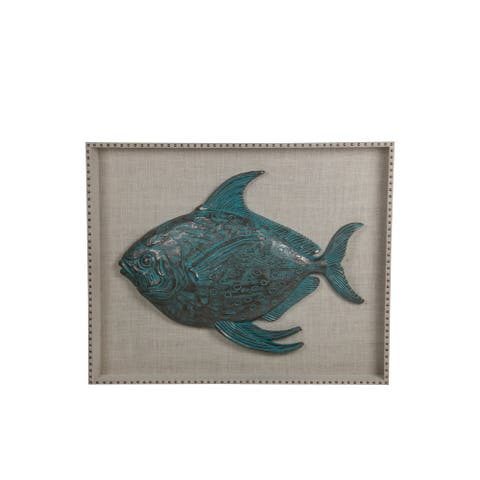 Resin Fish Wooden Wall decor with Nail head Trims, Blue and Gray - 6 x 12
