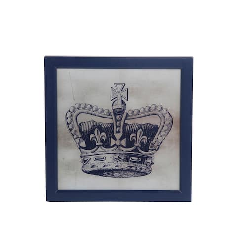 Square Frame Wooden Wall decor with Royal Crown Print, Blue and White - 6 x 12