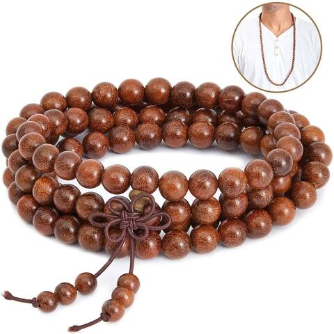"Sandalwood Bead 35"" Prayer Meditation Necklace for men and women (2 Pack)"