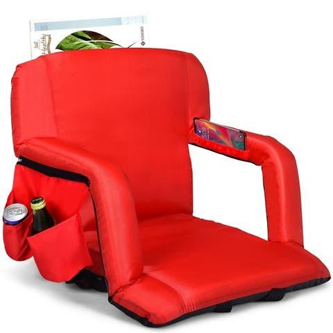Stadium Seat Portable Chair w/Armrest & Padded Cushion