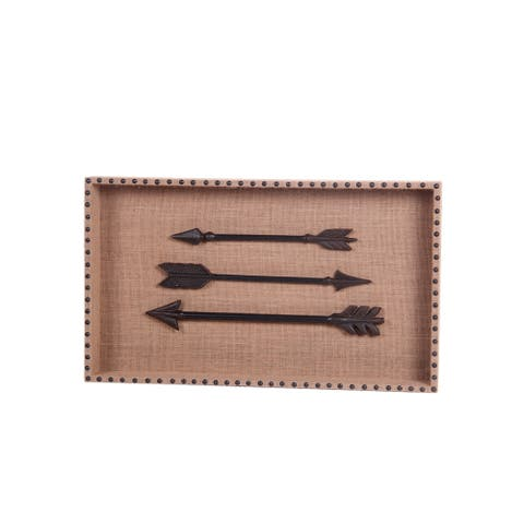 Rectangular Wooden Wall Decor with Metal Arrow Accents, Brown - 6 x 12