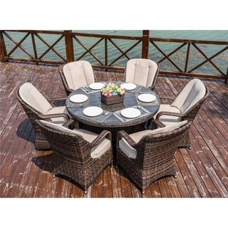 6-Seats Wicker round Table Chairs By Direct Wicker - N/A
