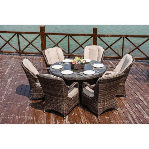 Six (6) Dining Chairs and One (1) Round Table Wicker round Table Chairs Set By Direct Wicker