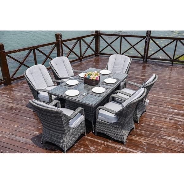 7 Piece Wicker Rectangle Dining Table and Chair Set by Direct Wicker
