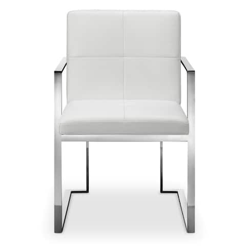 Strick & Bolton Brenner Upholstered Stainless Steel Arm Chair