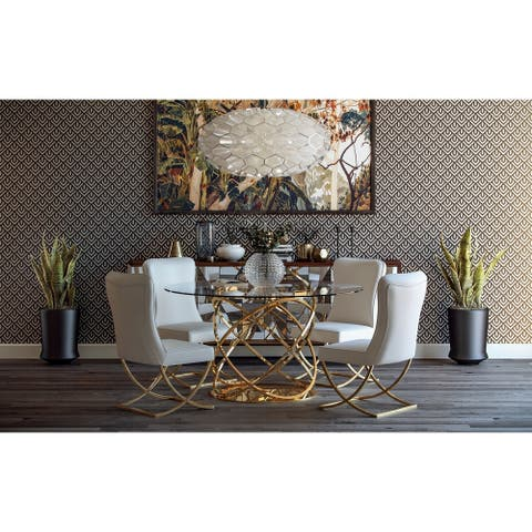 June Faux Leather Steel Dining Chair (Set of 2)