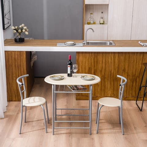 Dining Table Set, 3 Piece Dining Room Table Set, PVC Breakfast Table